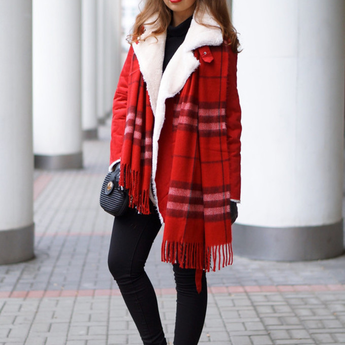 winter outfits flannel scarf blogger red red coat a piece of anna shearling jacket scarf red