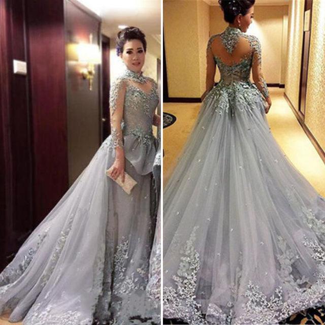 Aliexpress.com : Buy Elegant Grey Princess Ball Gown Evening Dresses ...