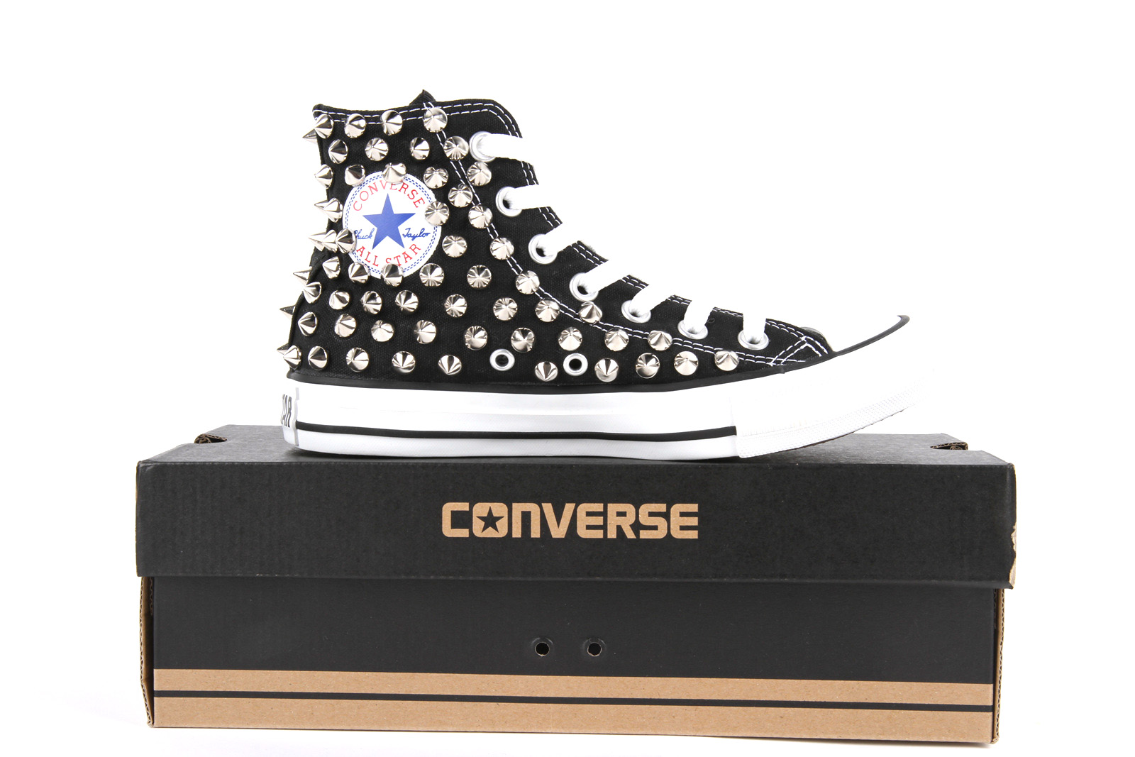 Studded Converse All Star Chuck Taylor High Top Black - Fashion Sneakers | RebelsMarket