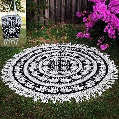 Indian White Elephant Mandala Roundie Beach Throw Tapestry