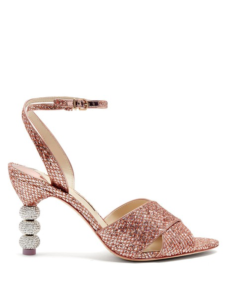 heel glitter embellished sandals pink shoes