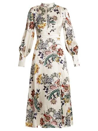 dress silk dress high floral print silk white