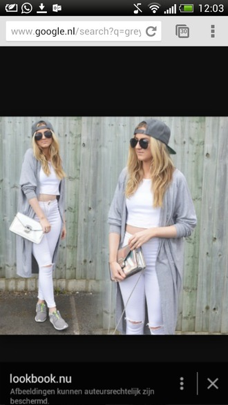 hat grey cap snapback girl coat jeans