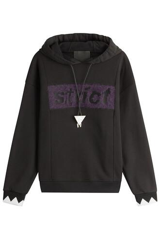 hoody embellished cotton black sweater