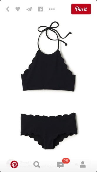 swimwear black bikini high neck scalloped edges two-piece bikini black swimwear two piece scalloped black bikini girly girl girly wishlist halter neck tie high waisted high waisted bikini bikini top bikini bottoms noir taille haute waves rectangle bra