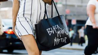 bag black lives matter black bag tote bag quote on it dress mini dress shirt dress striped dress stripes