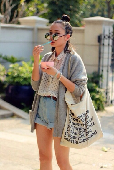 shorts high-wasted denim shorts high waisted, denim, shorts sweater sunglasses