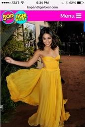 dress,yellow,flowy,prom,celebrity,vanessa hudgens,maxi dress