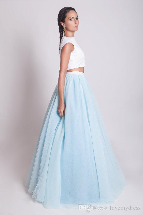White And Sky Blue Tutu Skirt Evening Dresses Long Formal Prom ...