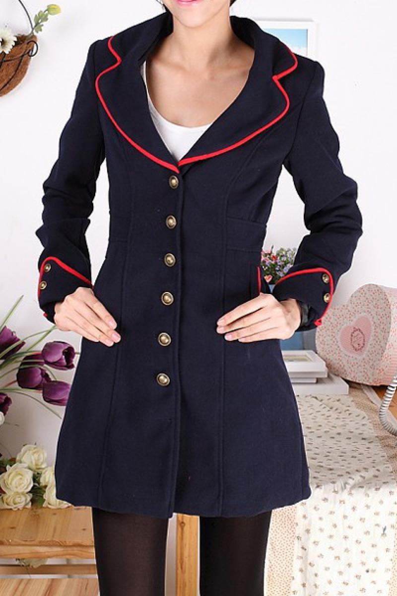 Slim Contrast Color Fashion Woolen Windbreaker,Cheap in Wendybox.com