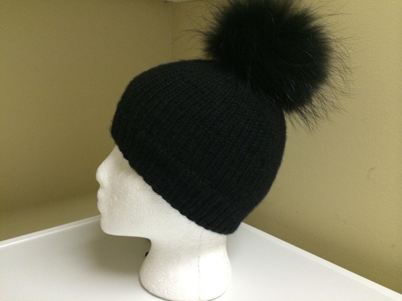 100% cashmere black beanie hat
