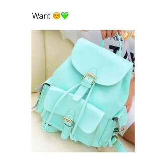 bag backpack green cute girly pastel mint green bag mint