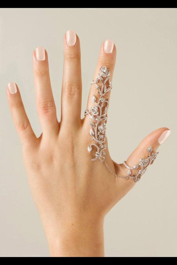 Amazon Silvertone Leaf Rhinestone Full Finger Ring Armor