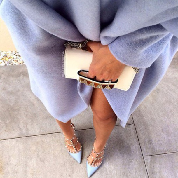 Shoes heels pointed toe heels cute baby blue pretty