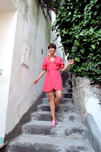 dress tumblr mini dress pink dress wrap dress ruffle ruffle dress shoes mules vacation outfits