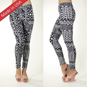 New Aztec Tribal Ethcic Print Black White Comfy Cotton Leggings Tights Pants USA