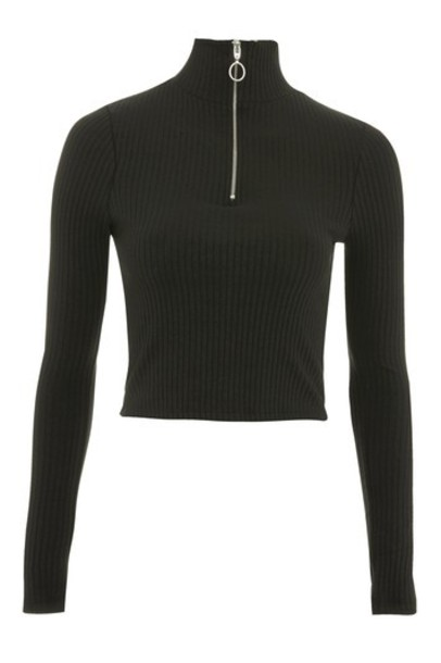 Topshop top long zip black