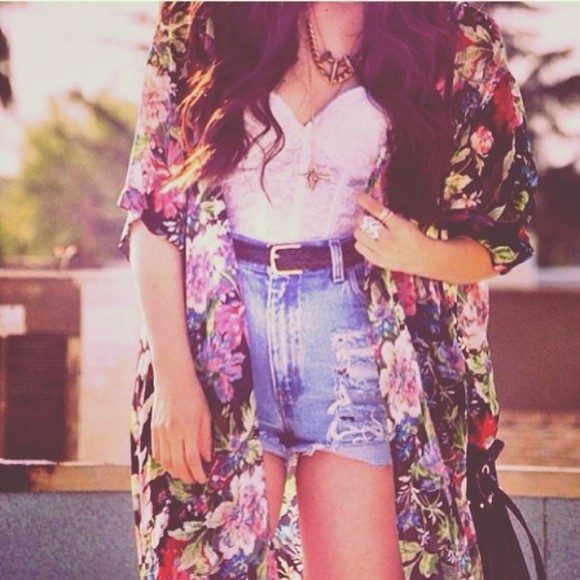 flowers floral shorts summer shirt crop tops cute cardigan jacket colour summer outfits summer top kimono