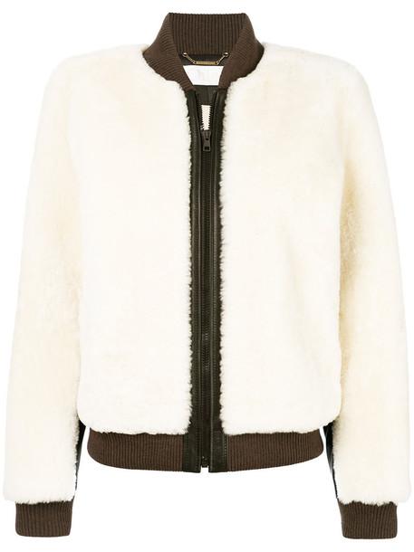 Chloe jacket bomber jacket women leather white wool