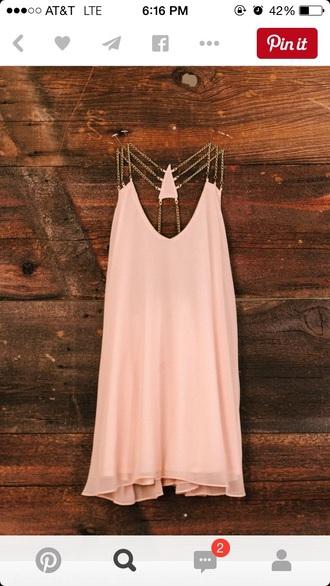 dress light pink dress light pink gold chain
