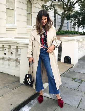 coat trench coat nude coat denim jeans blue jeans cropped jeans shoes red shoes bag fall outfits