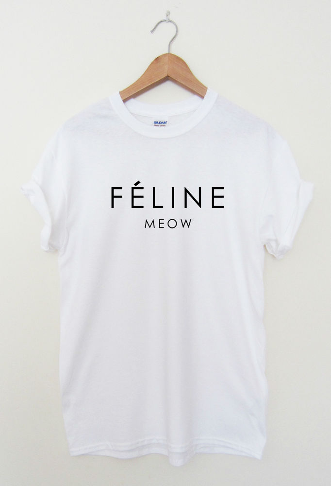 Feline Meow Hipster T Shirt Cara Tumblr Dope Swag Top Men Ladies Women | eBay