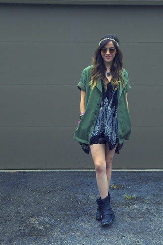 coat dress boots headband sunglasses jewels