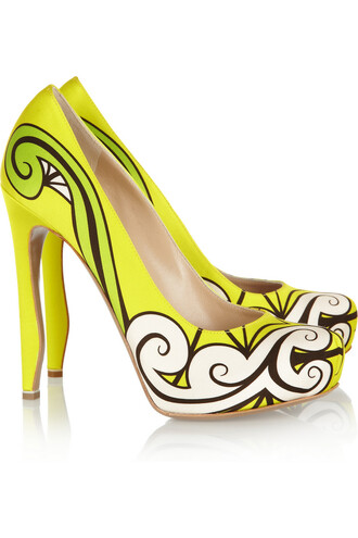 shoes nicholas kirkwood printed silk-satin pumps neon high heels