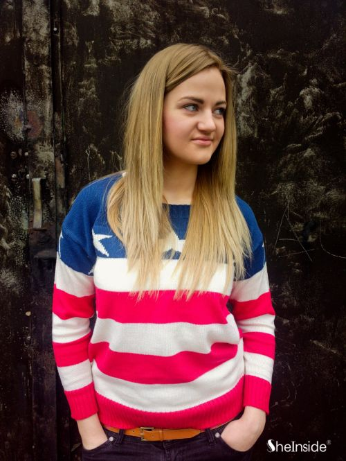 Red White Blue Striped Long Sleeve Stars Print Sweater - Sheinside.com