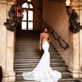 dress white dress gold sequins long dress mermaid prom dress