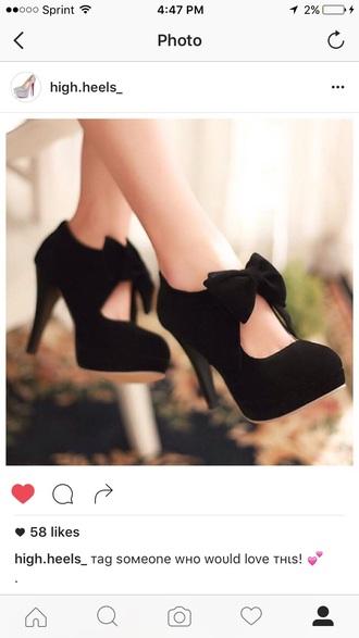 shoes mary jane high heels bow heels black heels