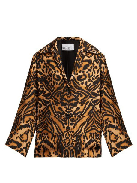 Raey - Tiger Print Silk Cady Pyjama Jacket - Womens - Brown Multi