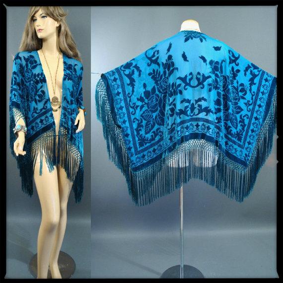 Vintage 1970s Art Nouveau Sheer Silk Burnout par GeronimoVintage