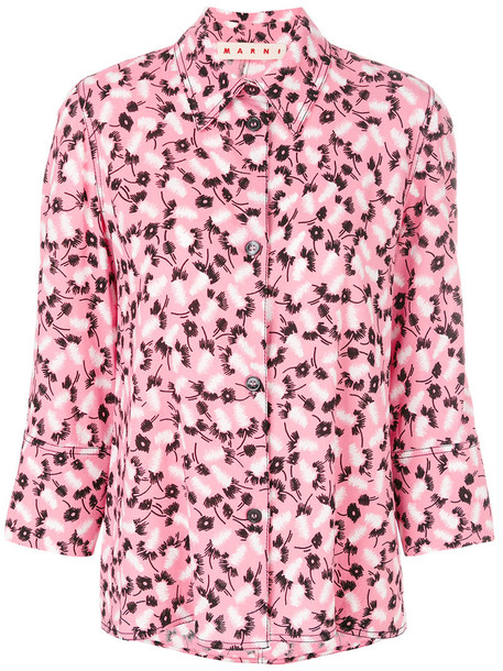 Marni - floral printed shirt - women - Viscose - 38, Pink/Purple, Viscose
