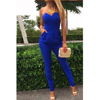 jumpsuit blue summer cute blue jumpsuit cotton sexy jumpsuit party outfits strapless top style blue shirt blue skinny jeans blue jumper