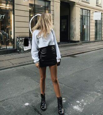 skirt tumblr vinyl mini skirt black skirt leather skirt black leather skirt sweatshirt grey top boots biker boots black boots flat boots vinyl skirt