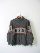 sweater,90s style,grunge,grunge sweater,snowflake,knitwear,vintage,etsy,manor,90s grunge