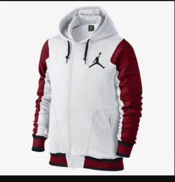 Jacket: jordan red grey sweater hoodie - Wheretoget