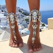 jewels,shoes,diamonds,foot,jewelry,boho jewelry,rhinestones,ankle jewelry,ankle bracelet