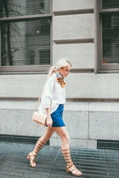 happily grey,blogger,button up skirt,gladiators,silk scarf,chloe bag,designer bag,chloe faye bag,denim skirt,mini skirt,nude bag,top,white top,scarf,sandals,flat sandals,knee high gladiator sandals,summer outfits,skirt,button up denim skirt,spring outfits