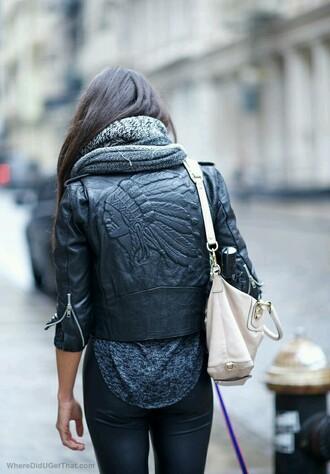 jacket indian indian face pu biker jacket