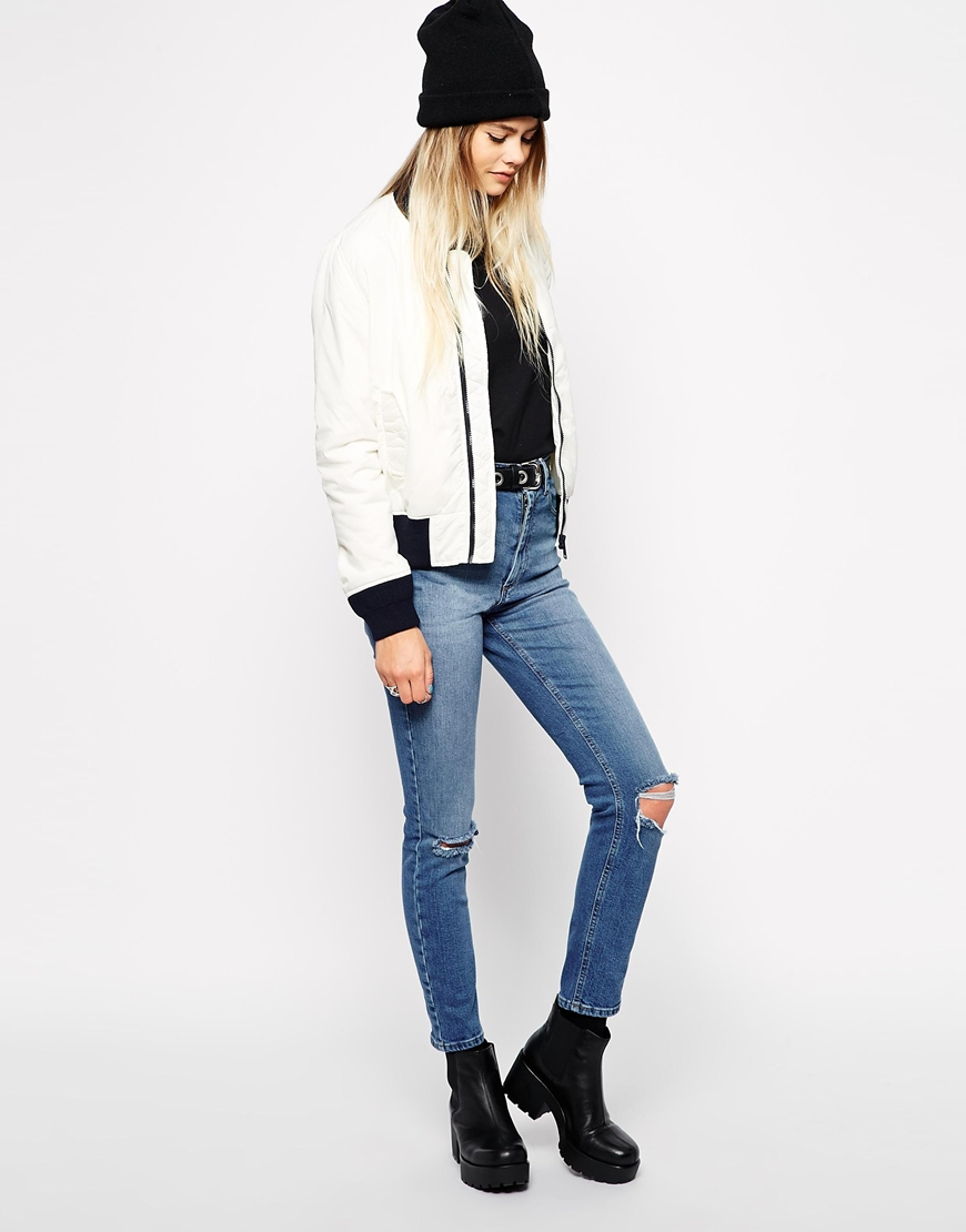 Schott nyc bomber jacket with contrast trim at asos.com