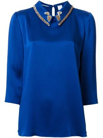 blouse women embellished blue top