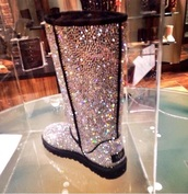 ugg boots,sparkle uggs,silver ugg boots,boots,diamonds,name brand,tall,shiny,shoes,glitter shoes,crystal,silver,glitter boots,crystal uggs,cute shoes,shiny shoes,black,fashion,pearl uggs