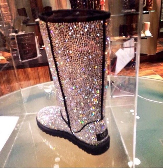 shiny tall uggs ugg boots uggs with rhinestones uggs with studs uggs that i must have sparkle uggs silver ugg boots ugg boots shoes boots crystal uggs