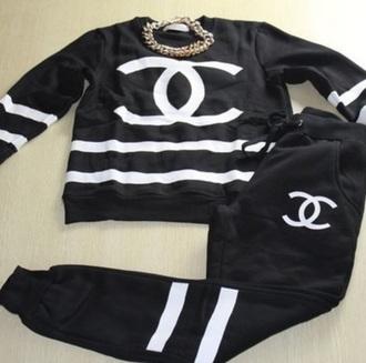 sweater black joggers black crewneck chanel cc hip hop urban