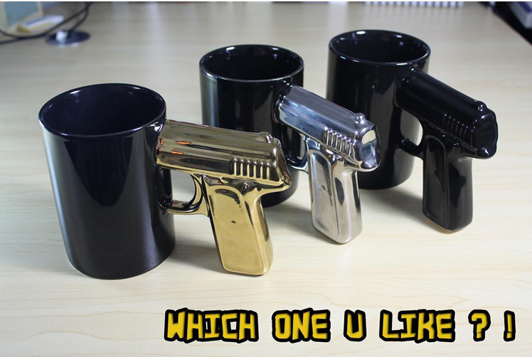 New Black Handled Gun Mug Shooter Coffee Tea Hot Chocolate Office Gag Mug I | eBay