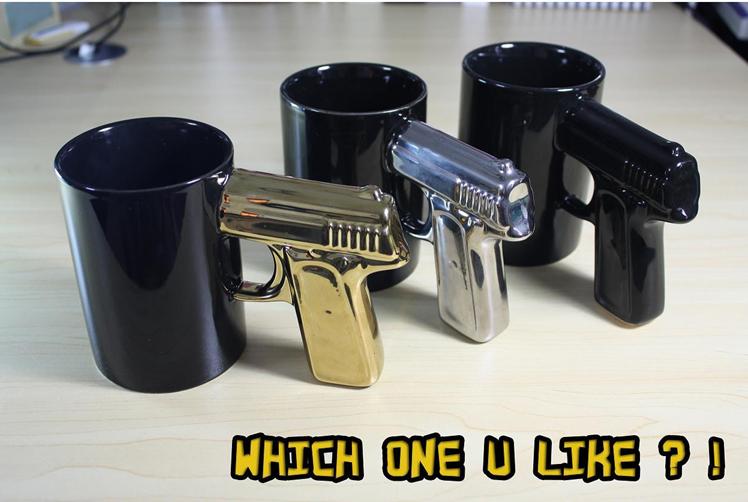 New Black Handled Gun Mug Shooter Coffee Tea Hot Chocolate Office Gag Mug I | eBay