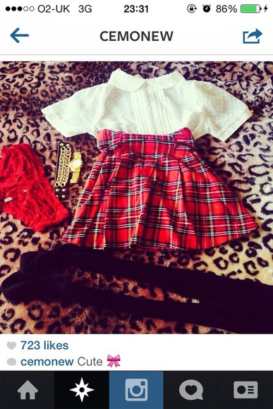 tumblr cute beautiful amazing grunge skirt shirt plaid red black soft grunge tumblr girl tumblr boy