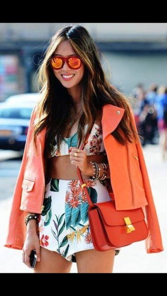 shorts flowered shorts t-shirt blouse jacket bag peach tropical crop tops